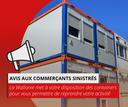 Inondations : Mise à disposition de containers pour les indépendants et commercants